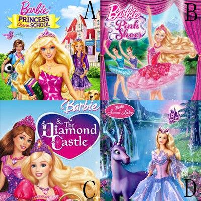pilih mna? A. barbie princess charm school B. barbie in te pink shoes C. barbie & the diamond castle D. barbie swan lake kmu lebih sering nonton yg mna?