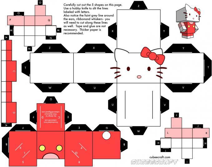 paper craft hello kitty : http://4.bp.blogspot.com/-6SLfjhlQcpw/T5XuBUHzpVI/AAAAAAAAADA/RFcd8H-GBqA/s1600/hello-kitty-cubeecraft.jpg