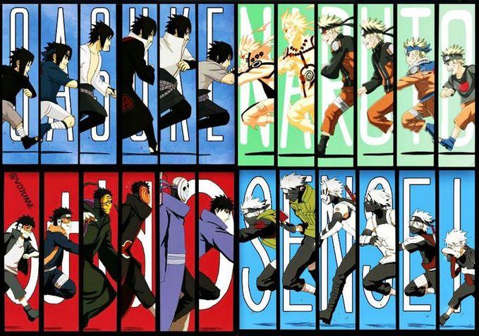 "Naruto, Sasuke, Kakashi, dan Obito dari kecil hingga dewasa *Jangan lupa klik tombol ""WOW""nya"