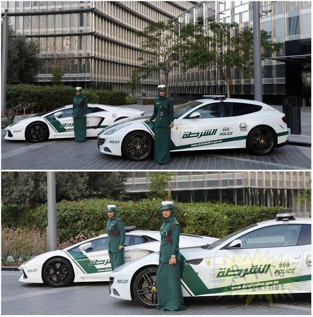 Polis Dubai bergaya bersama kereta supercar Ferrari dan Lamborghini.. Kmu Klo Jdi Polisi Pake apa ??!!??