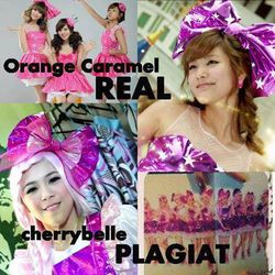 Cherrybelle tidak hanya plagiat SNSD tapi Orange Caramel. sungguh istimewa plagiat nya dasar gak kreatif. (orange caramel yg duluan) nih for chiters and twibiboy