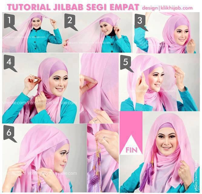 Gunakan inner jilbab. Ambil jilbab segi empat kesukaan sista.