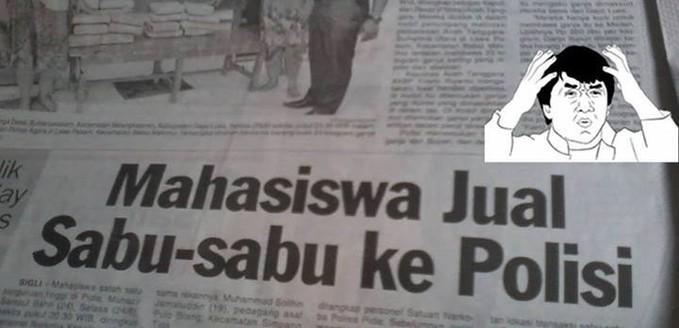 """mahasiswa sekarang Making Menggila Saja Gan.. sabu"""" kok dijual kepolisi,, capek dehh.,."""
