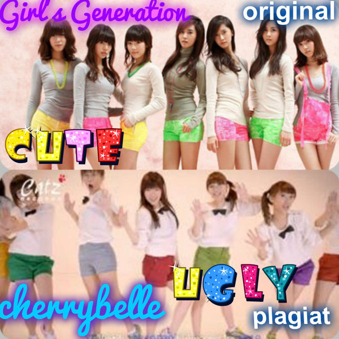 yg setuju chebek plagiat girls generation klik wow-nya ya...... :) liat deh muka cherly di di foto,jelek banget :D (yg pake celana warna abu) keterangan: snsd-way to go chibi-dilema