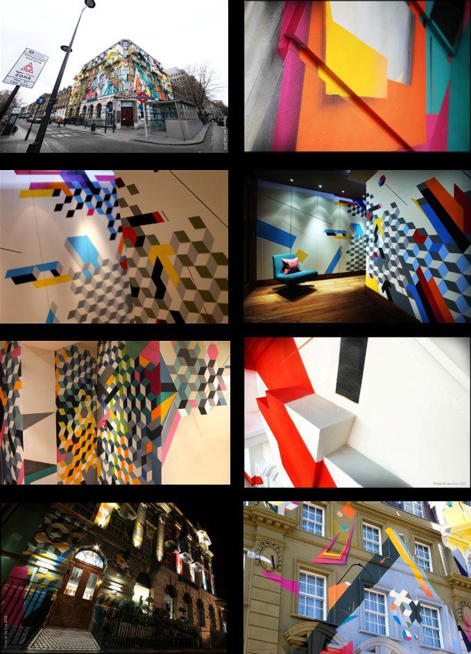 Megaro Project London, mural di luar bangunan dan interior dalam yang colorful.