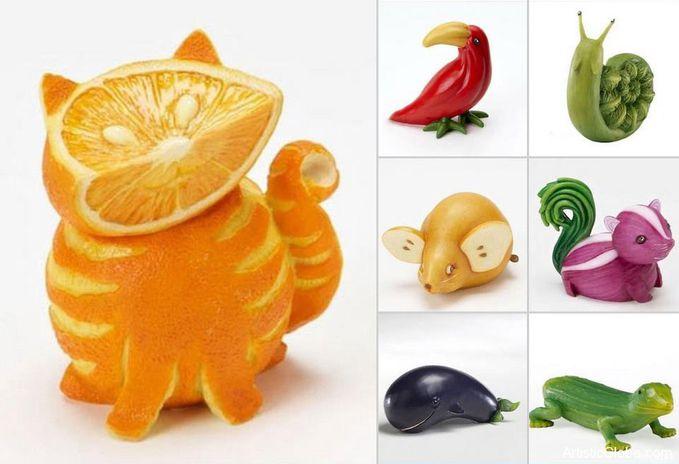 Съедобные фигурки из овощей и фруктов своими руками фото
