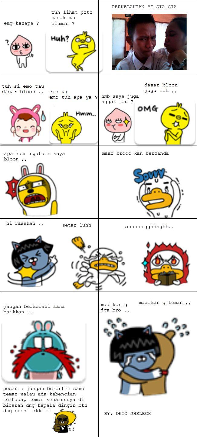 ni meme komik pakai emoticon kakao talk hasil karya sendiri :) wownya dong