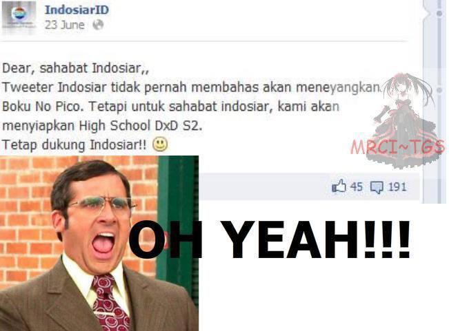 Guys, sudah tahu ngak tentang isu yang beredar di jejaring sosial Twitter ini Indosiar akan menayangkan High Scool DXD Season 2 LHO... Bagi yang suka anime apakah kalian setuju dengan isu ini? Jika setuju klik wow-nya ya