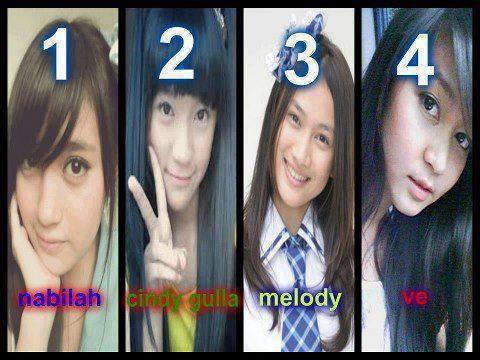Menurut lo member paling cantik siapa 1 : Nabilah 2 : Cindy Gulla 3 : Melody 4 : Ve Isi sendiri...