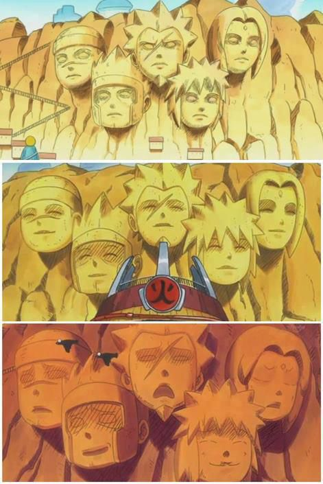 di Naruto SD expresi patung hokage bisa berubah-ubah sesuai kondisi desa konoha. >lihat foto.... Minta WOWnya Ya