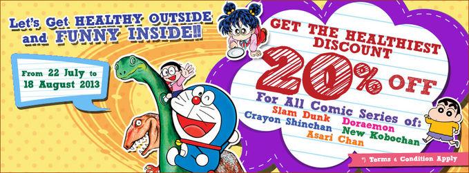 """â?ª#""""PromoBukuâ?¬ Semua seri komik SLAM DUNK Deluxe, DORAEMON, CRAYON SHINCHAN, NEW KOBOCHAN, dan dari m&c, ASARI CHAN http://ow.ly/nbhKU diskon 20% di seluruh toko buku Gramedia sampai 18 Agustus 2013"""