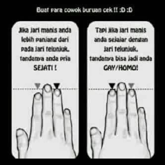 Ayoooo para cowok langsung lihat jari kalian ... tapi jangan terlalu percaya.. :)