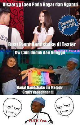Disaat para VVota Harus mengeluarkan banyak uang buat event Handshake diteater, Gw cuma duduk dan Menunggu dapat Handshake dari Melody JKT48 Gratis Broo. WoW nya jangan Lupa o_O