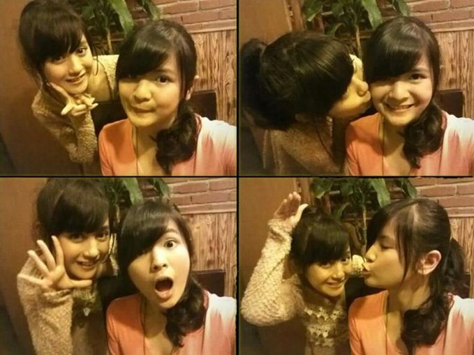 Foto Nabilah JKT48 cium Sonya JKT48. Wah pasti Wota pada mau juga. WoW nya gan jangan lupa :)