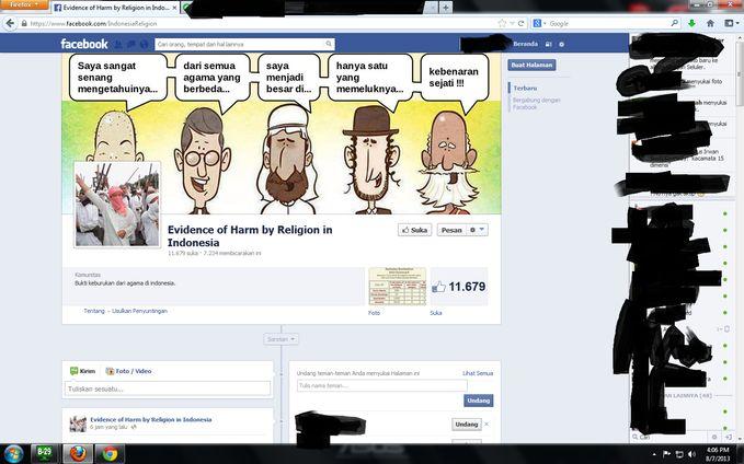 """ya ALLAH sadarkan-lah orang yang membuat """"Evidence of Harm by Religion in Indonesia"""" dan ampunilah dosanya yang telah MEMBEDA BEDAKAN AGAMA lain jika kalian mau lihat di Facebook KLIK link ini https://www.facebook.com/IndonesiaReligion NO LIKE"""