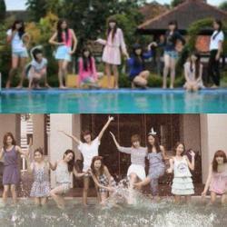 SNSD sengaja foto di kolam renang biar sama kayak CHIBI. SNSD bisanya cuma ngikutin gaya orang ;)