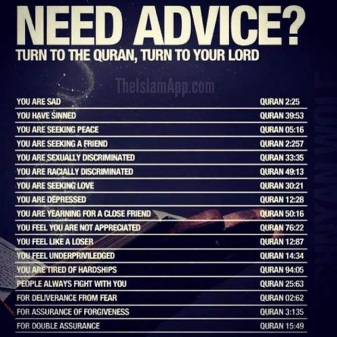 Yang merasa butuh nasehat, bacalah ayat-ayat Al Quran tersebut!