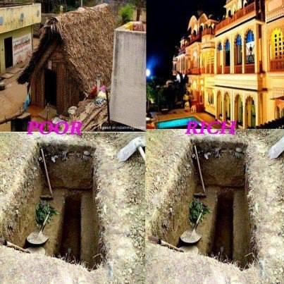 walaupun di dunia rumah kita kaya atau miskin kalaw di kubur sama aja...... wownya gan....