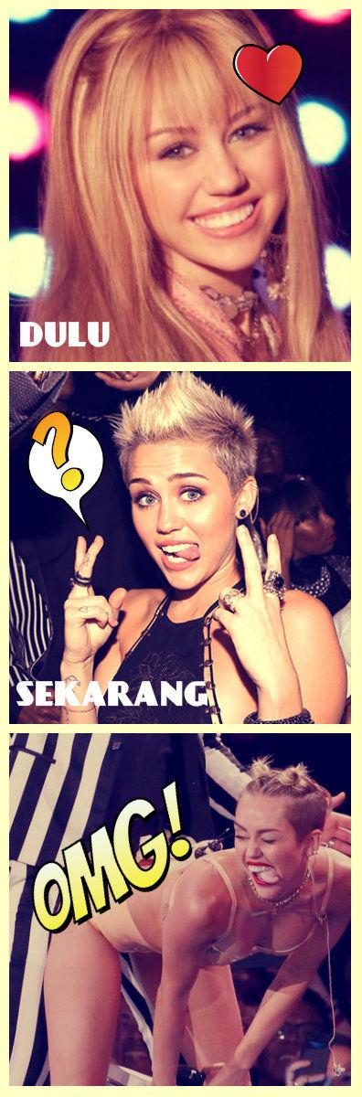 Miley Cyrus yg dulu dan sekarang.. ck ck ck