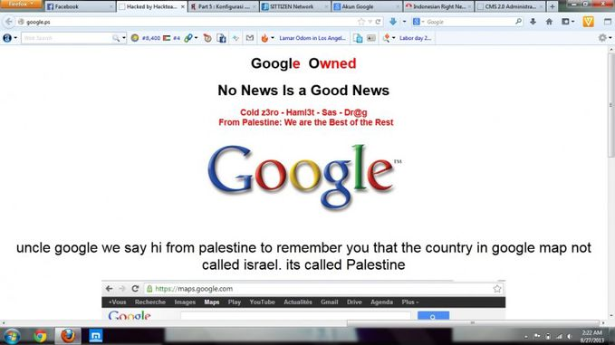 Google Dihack Sama Hacker Palestina kasih jempol dah orng ny yg telah meretas ini mbah google ! Google Owned No News Is a Good News Cold z3ro - Haml3t - Sas - Dr@g From Palestine: We are the Best of the Rest WOW banget !