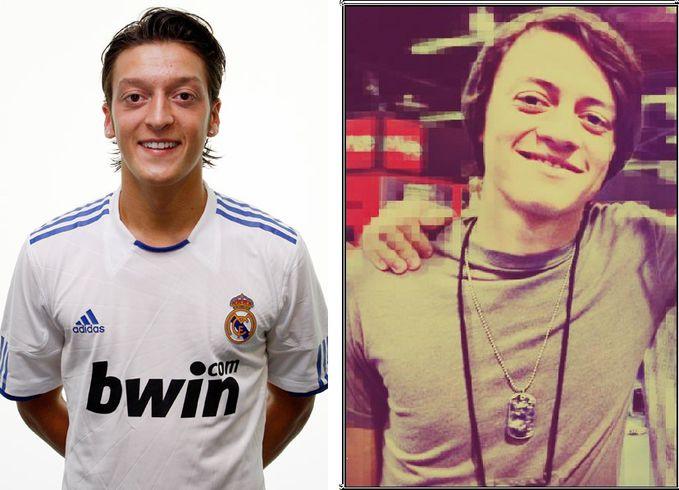Wajahnya mirip banget pemain real madrid Mesut Ozil & Drummer A7x Arin Llejay
