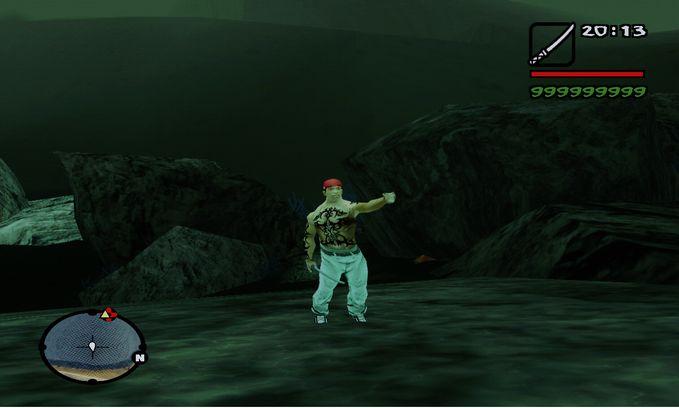 apakah anda tau game gta san andreas, ini dia fotonya waktu cj bisa berdiri di dlm air