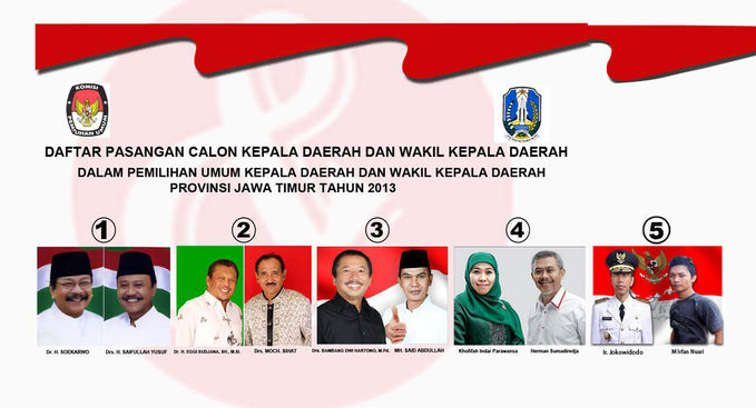 Ayoo.. Pilih Calgub Jawa Timur Yang No 5 Kanan .. Ir. Joko widodo Kiri .. Irfan Nuari