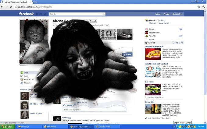 Cara mengeluarkan hantu dari profil facebook.,.,atau Hantu Alrena Roushe hayoo siapa yang beranii atau siapa yang pernahh mainin nyaaa,.,. yangg belumm pernah ini saya kasih tau tutorial nyaa 1.Buka Link http://www.sinthaistudio.com/alrena/ 2