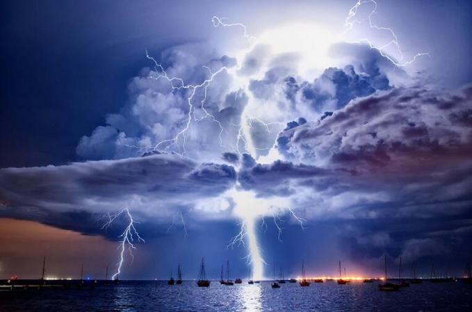 Lightning over Corio Bay, Victoria, Australia