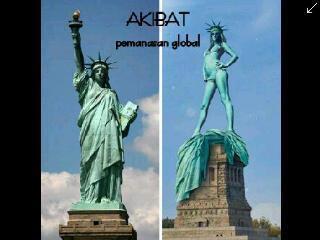 akibat pemanasan global, patung liberty yang tadinya kediinginan sekarang jadi kepanasan wkwkwkw, minta WOWnya donk.....