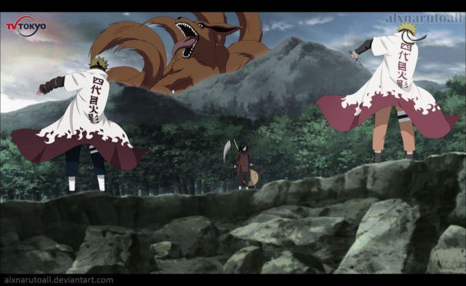 Minato and Naruto vs Madara and Kyubi, Wow nya ya.