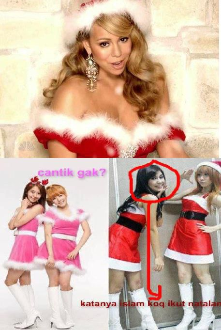 Kalau gambar bawah-kanan disebut plagiat bawah-kiri, maka gambar bawah-kiri pantas disebut plagiat gambar atas. Kostum yang dipake oleh gadis dalam dua gambar bawah, mirip kostum Mariah Carey. Diva internasional ini merilis album tahun 1994.