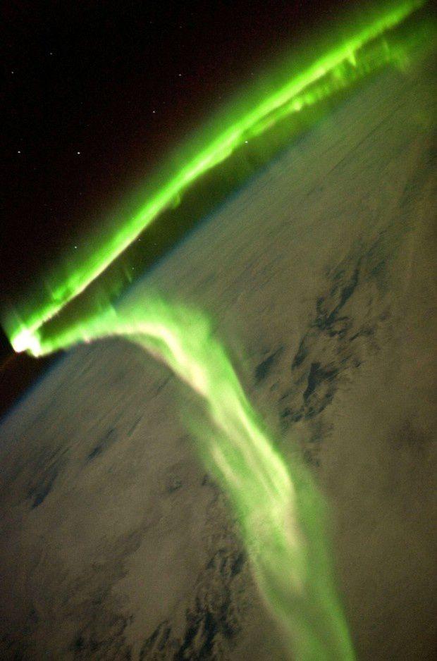 Aurora Borealis dilihat dari International Space Station.