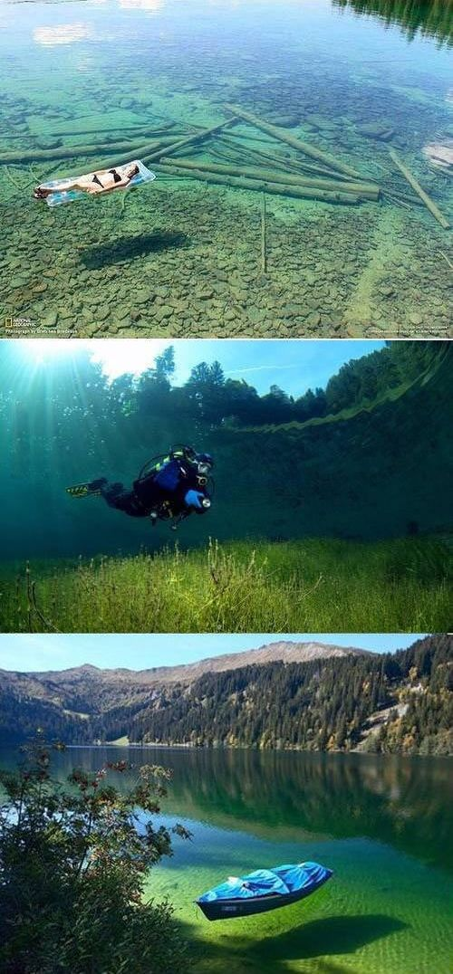 Flathead Lake, Montana.seakan akan melayang.sangking jernihnnya