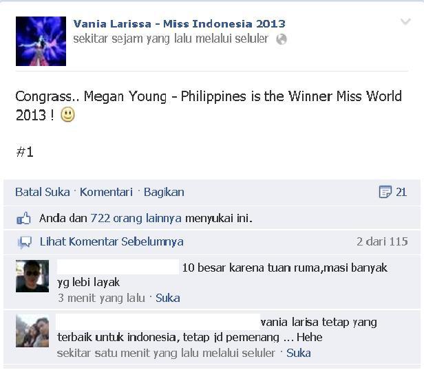 PEMENANG MISS WORLD 2013 ADALAH MEGAN YOUNG DARI PHILIPPINES WOW nya donk