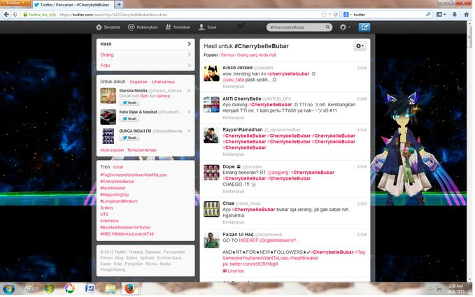 #CherryBelleBubar jadi trending topic di twitter ^^