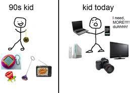perbedaan dulu dngn sekarang waktu masih bayi :dot,mainan,dan kartun. sudah anak-anak: ipad,HP,komputer,tablet,dan laptop. cerita pendek... anak: pa,aku mau beli ipad donk soalnya temenku udah punya semua ayah: ayah gak punya uang anak: huaaa!