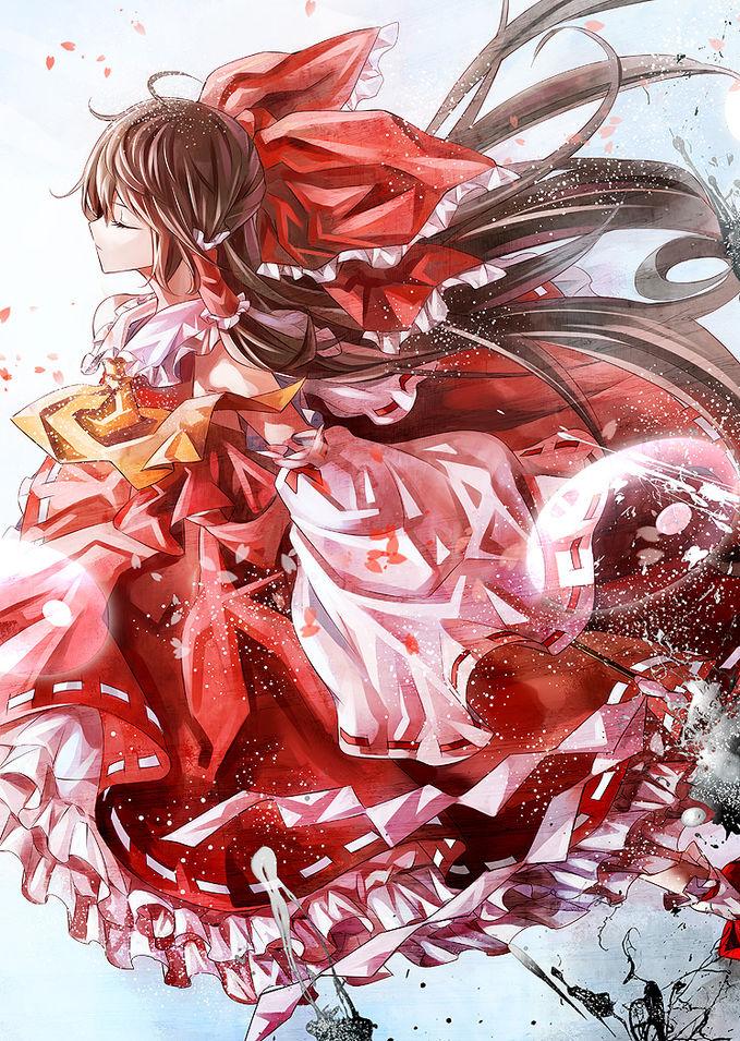 Hakurei Reimu, dari animasi TouHou yg ceritanya belum jelastapi menurut penyelidikan Hakurei Reimu adalah gadis kuil di kuil nya yang mengusir siluman jahat layaknya seorang miko. Wow yg mikir Hakurei manis!