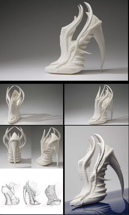 Model Sepatu High Heels Ini Unik ya! terinspirasi dari tulang invertebrates hewan laut hasil rancangan mahasiswi asal inggris Janina Alleyne telah berhasil menciptakan sesuatu yang baru untuk sebuah model sepatu wanita bergaya arsistik