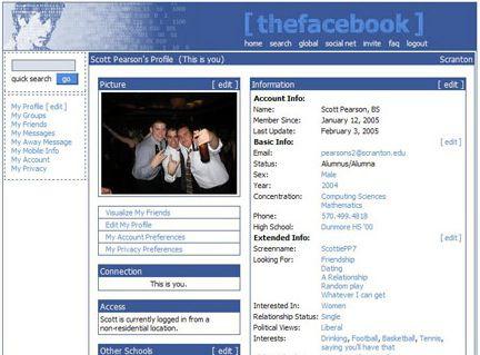 inilah tampilan facebook yang pertama kali .....