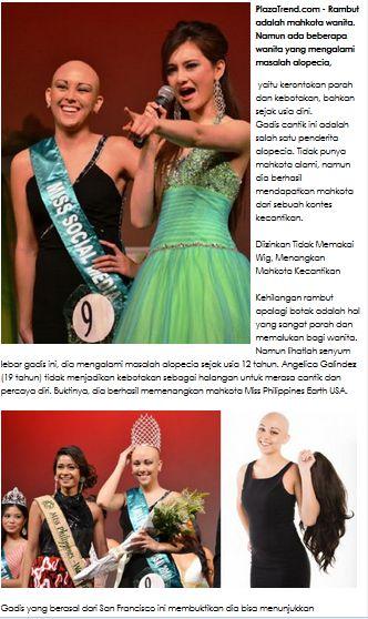 Gadis Botak Karena Kanker Ini, Berhasil Mendapatkan Mahkota Miss Philippines Earth USA selengkapnya disni http://www.plazatrend.com/trend-fashion/6659-gadis-botak-karena-kanker-ini-berhasil-mendapatkan-mahkota-miss-philippines-earth-usa.html