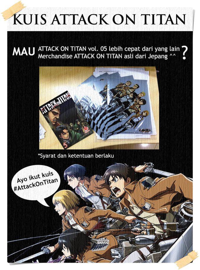 #KuisBuku Penggemar ATTACK ON TITAN mana suaranya?! Siapa yg mau dapat komik Attack on Titan vol. 05 lebih cepat + merchandise (map ukuran 25.3 x 17.4 cm) Attack on Titan asli dari Jepang? Simak di http://ow.ly/qJ1fH mobile http://ow.ly/qJ1hB