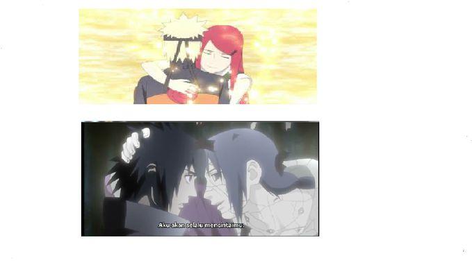 saya baru sadar!!! ternyata klo dilihat dari dua gambar ini, cerita Naruto bertemu dengan Kushina dan Sasuke bertemu dengan Itachi hampir sama!! karena pada gambar ini menceritakan tentang penyerangan Kyuubi, dan pembantaian clan Uchiha