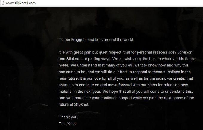 Joey Jordison keluar dari Slipknot ?