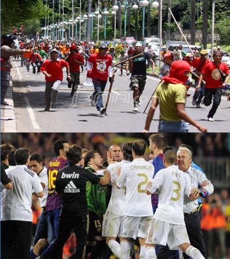 Inilah perbedaan Indonesia dengan luar negeri jika di tarik dari sisi/bidang sepak bola. Luar negeri: Pemain Emosi, Pemain Rusuh. Indonesia: Pemain Emosi, Supporter Rusuh.
