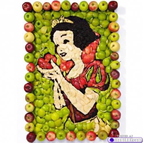 WOW Lukisan Putri Salju ini terbuat dari ratusan buah apel