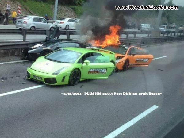 kecelakan Lamborghini Aventador dan 2 Gallardo di Malaysia