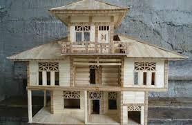 rumah yang terbuat dari stik eskrim mana WOOw NYA