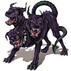 Cerberus, hewan peliharaan Hades. digambarkan sebagai anjing berkepala tiga yang mampu menyemburkan api. WoW nya donk