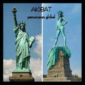 akibat pemanasan global nie kasihan patung libertinya haha wow ny donk